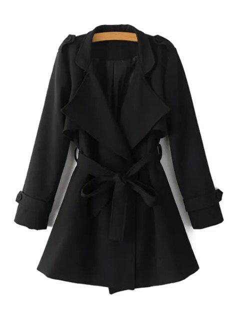 lady Turn-Down Collar Belt Pure Color Trench Coat - BLACK L Mobile