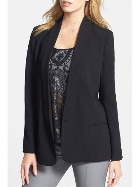 shop Shawl Neck Solid Color Blazer - BLACK L Mobile