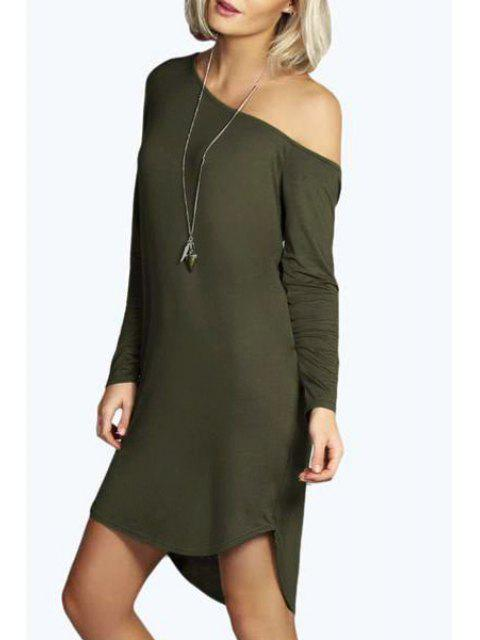 shop One-Shoulder Long Sleeve Dress - ARMY GREEN S Mobile