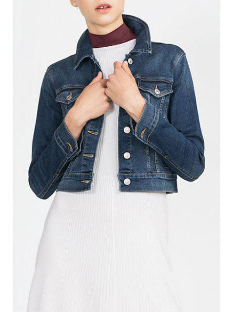 buy Denim Turn Down Collar Long Sleeve Coat - BLUE L Mobile