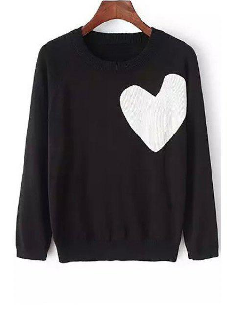 fashion White Heart Pattern Long Sleeve Sweater - BLACK M Mobile