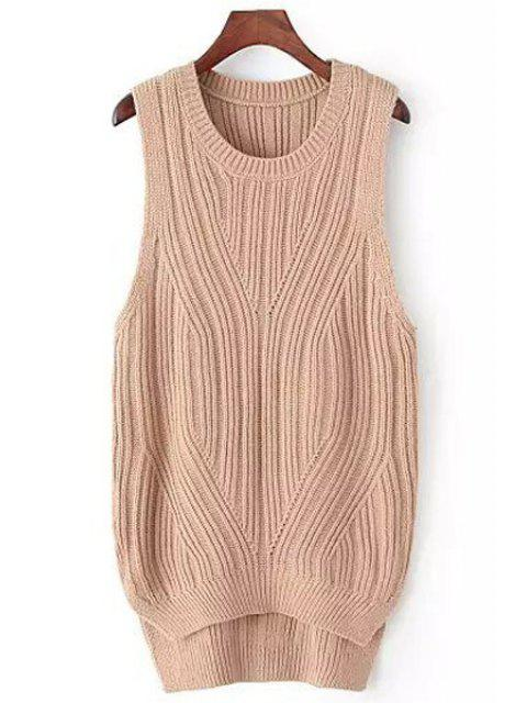 women's High Low Solid Color Sleeveless Sweater - KHAKI ONE SIZE(FIT SIZE XS TO M) Mobile