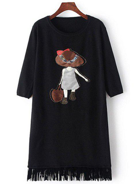 women Scoop Neck Girl Applique Long Sleeve Dress - BLACK ONE SIZE(FIT SIZE XS TO M) Mobile