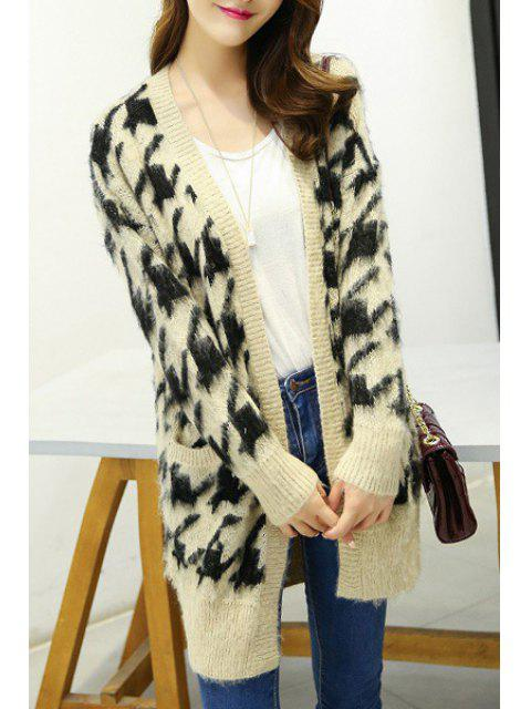 outfits Houndstooth Pattern Long Sleeve Cardigan - KHAKI ONE SIZE(FIT SIZE XS TO M) Mobile