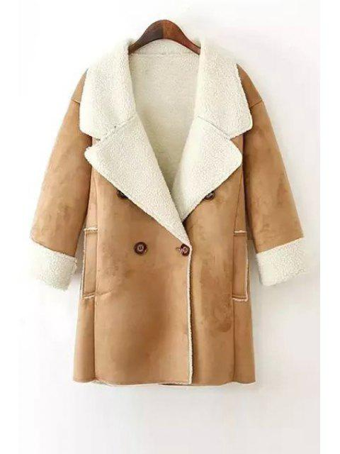 latest Lamb Wool Double-Breasted Long Sleeve Trench Coat - KHAKI S Mobile