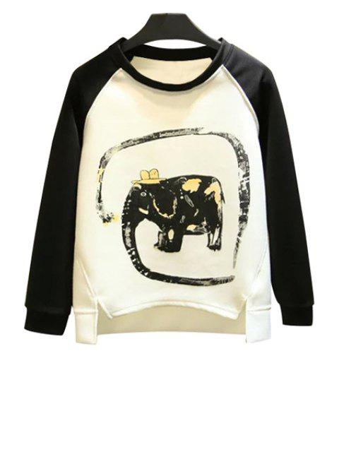 women Elephant Print Long Sleeve Sweatshirt - WHITE L Mobile