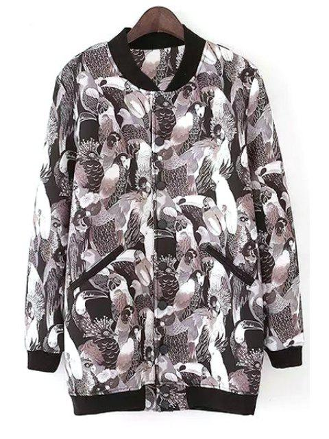 chic Full Parrot Print Stand Neck Jacket - BLACK L Mobile
