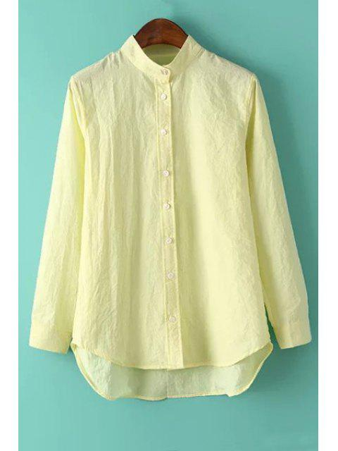 outfit Solid Color Stand Neck Long Sleeve Shirt - YELLOW L Mobile