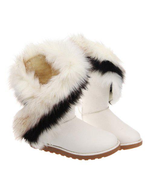 hot Color Block Faux Fur Snow Boots -   Mobile