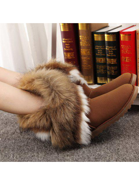 fashion Color Block Faux Fur Snow Boots - BROWN 41 Mobile