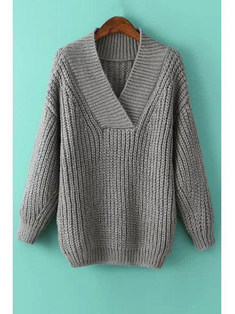 ladies Solid Color V Neck Long Sleeve Pullover Sweater - GRAY ONE SIZE(FIT SIZE XS TO M) Mobile