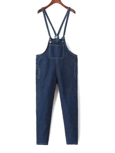 trendy Blue Denim Straps Overalls - BLUE M Mobile