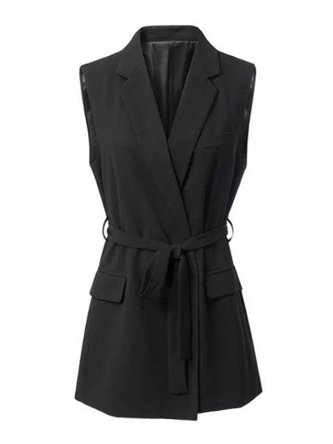 womens Black Stylish Lapel Collar Women's Waistcoat - BLACK M Mobile