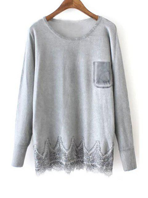 shop Lace Hem Patchwork Pocket Sweater - GRAY ONE SIZE(FIT SIZE XS TO M) Mobile