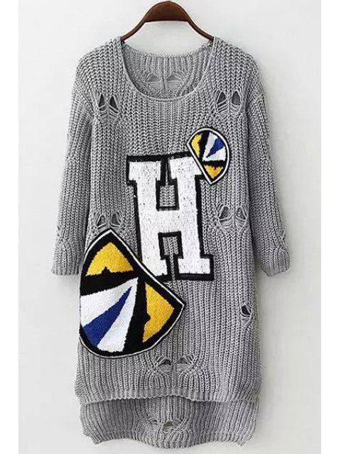 women's Letter Applique Hole Long Sleeve Sweater - GRAY ONE SIZE(FIT SIZE XS TO M) Mobile