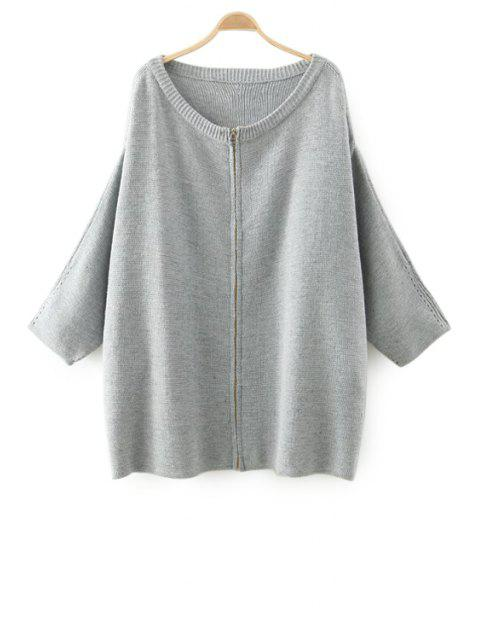 women Solid Color Zipper Fly Long Sleeve Cardigan - GRAY ONE SIZE(FIT SIZE XS TO M) Mobile