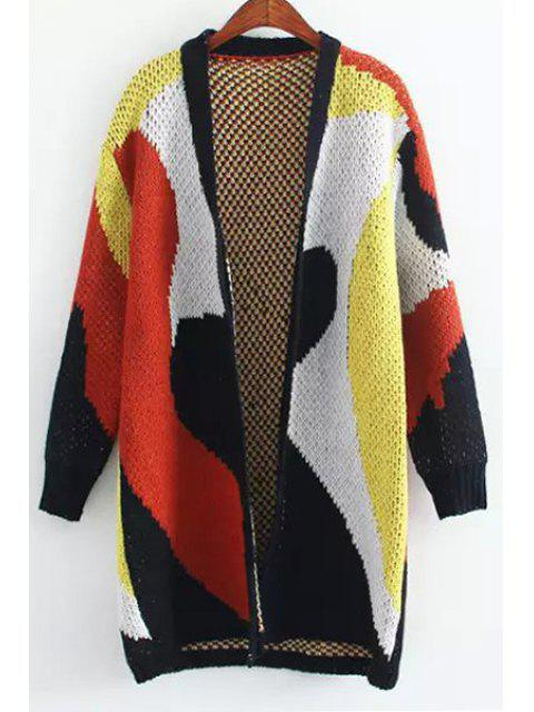 shop Collarless Color Block Thick Cardigan - COLORMIX ONE SIZE(FIT SIZE XS TO M) Mobile