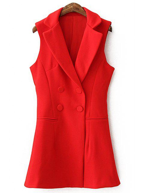 lady Lapel Solid Color Double-Breasted Waistcoat - RED M Mobile