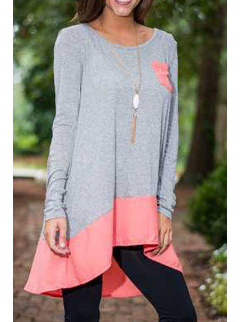 women High Low Long Sleeve T-Shirt - GRAY S Mobile