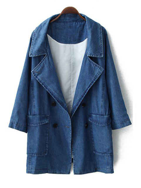 sale Double-Breasted Solid Color Long Sleeve Coat - BLUE S Mobile