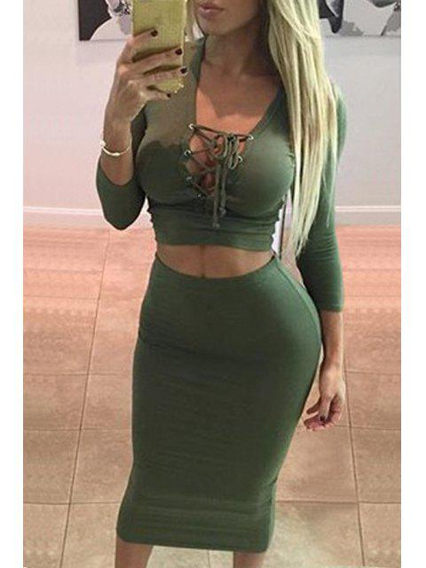 trendy Plunging Neck Crop Top and Pencil Skirt Suit - GREEN L Mobile