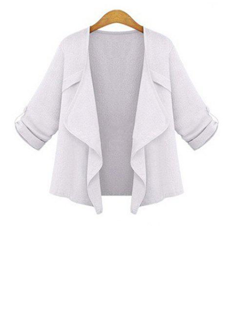 womens Solid Color Turn-Down Collar 3/4 Sleeve Coat - WHITE S Mobile