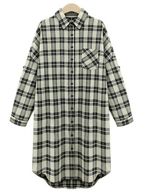 sale High Low Checked Long Sleeve Shirt - WHITE AND BLACK 5XL Mobile