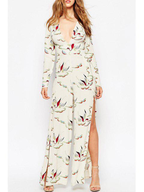 best Bird Print High Slit Hollow Back Jumpsuit - WHITE L Mobile