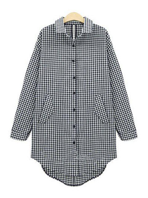 online Plaid Single-Breasted Long Sleeve Shirt - WHITE AND BLACK 4XL Mobile