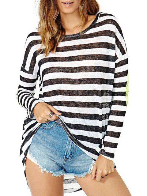 T-shirt à manches coulées coudées - Blanc et Noir XL Mobile