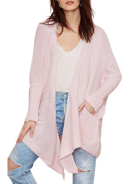 fashion Batwing Sleeve Irregular Pink Cardigan - PINK S Mobile