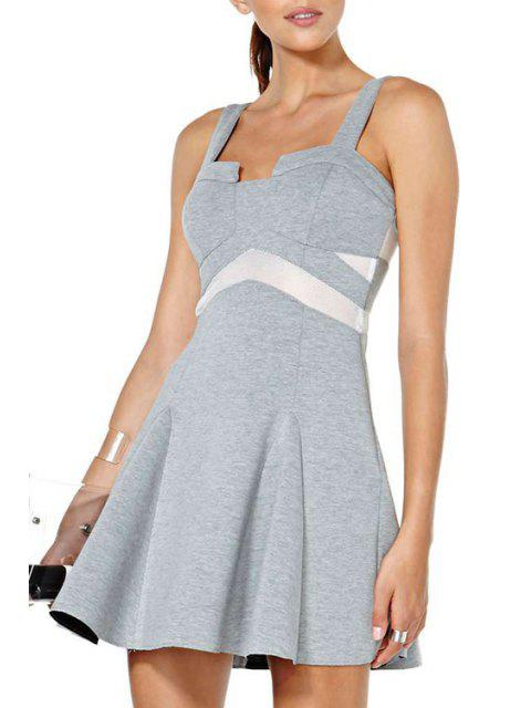 fashion Color Block Flouncing Sleeveless Dress - GRAY 2XL Mobile
