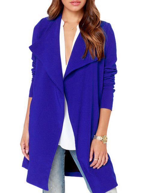 Manteau Bleu à Col Rabattu et Manches Longues - Bleu S Mobile