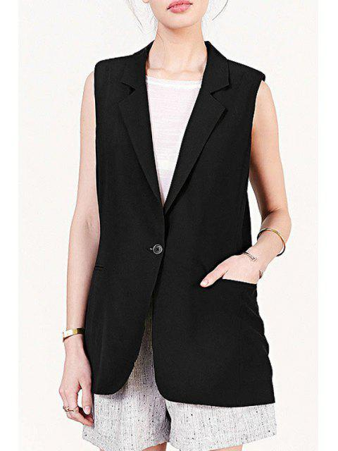 shop Lapel Black One Button Sleeveless Waistcoat - BLACK S Mobile