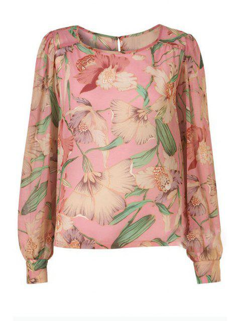 new Flower Print Scoop Neck Long Sleeve Blouse - LIGHT PINK S Mobile