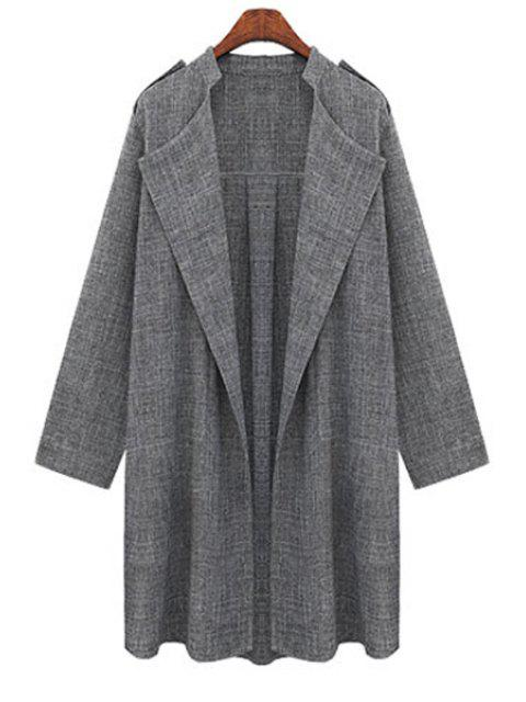 shops Gray Plus Size Trench Coat - GRAY 5XL Mobile