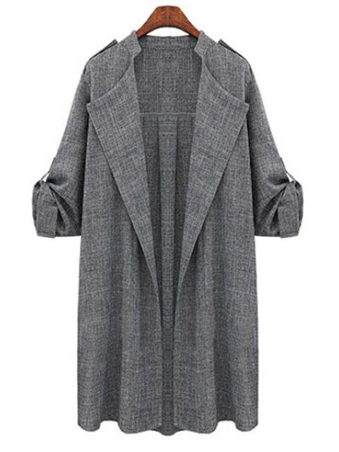outfits Gray Plus Size Trench Coat - GRAY 3XL Mobile