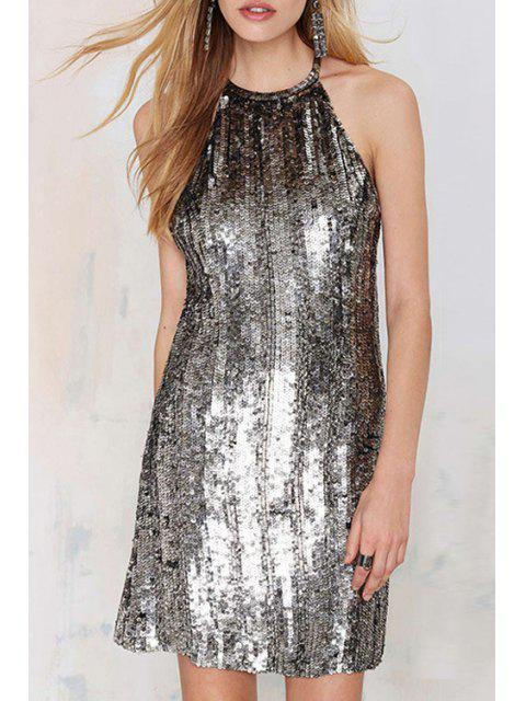 best Silver Sequins Sleeveless Dress - SILVER L Mobile