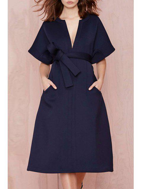 hot V-Neck Solid Color Belt Short Sleeve Dress - BLUE S Mobile