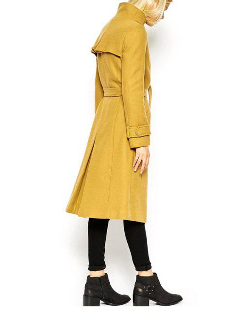latest Turn-Down Collar Belt Tie-Up Trench Coat - YELLOW XL Mobile