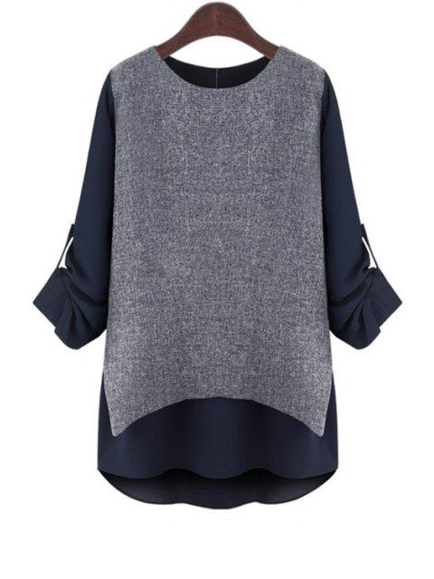 sale Rolled Sleeve Layered T-Shirt - BLUE M Mobile