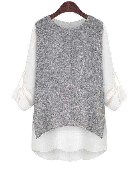 trendy Rolled Sleeve Layered T-Shirt - WHITE S Mobile