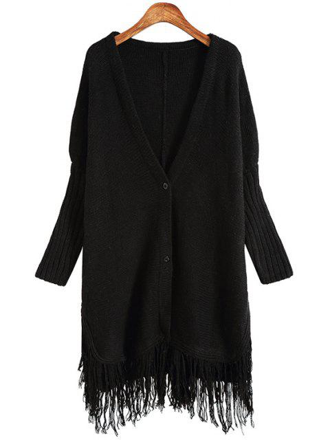 buy Solid Color Plunging Neck Long Sleeves Long Cardigan - BLACK ONE SIZE(FIT SIZE XS TO M) Mobile