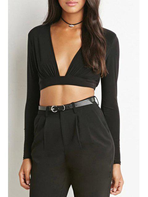 chic V-Neck Black Ruffle Long Sleeve Crop Top - BLACK XL Mobile