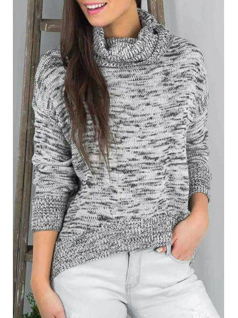 ladies Turtle Neck Irregular Hem Sweater - GRAY ONE SIZE(FIT SIZE XS TO M) Mobile