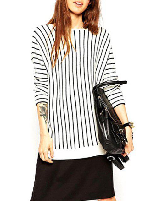 Jewel Neck Black Stripes Sweat à manches longues - Blanc et Noir M Mobile