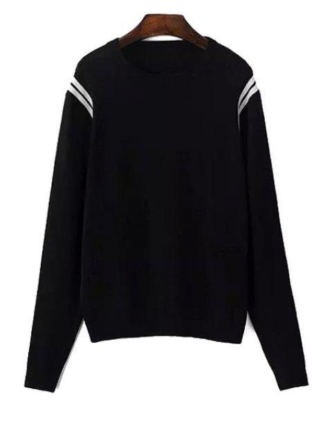 fashion Long Sleeve White Stripe Sweater - BLACK L Mobile
