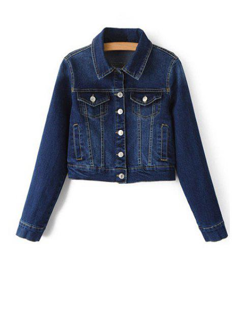 latest Blue Denim Turn Down Collar Deep Jacket - DEEP BLUE L Mobile