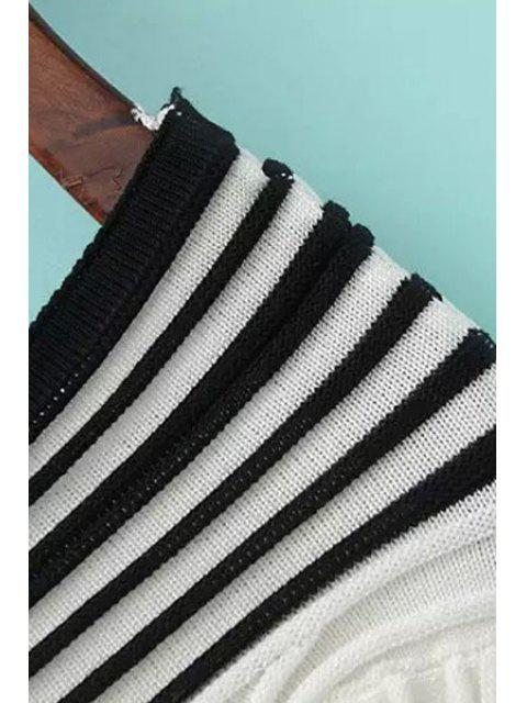 womens Stripes Spliced V Neck Long Sleeve Jumper - BLACK ONE SIZE(FIT SIZE XS TO M) Mobile