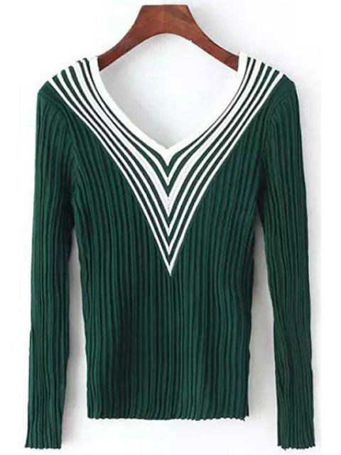 Langarm  Pullover mit Streifen Spleiß und V-Ausschnitt - Grün Einheitsgröße(Geeign Mobile